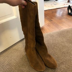 BCBG new, never worn low wedge suede boots